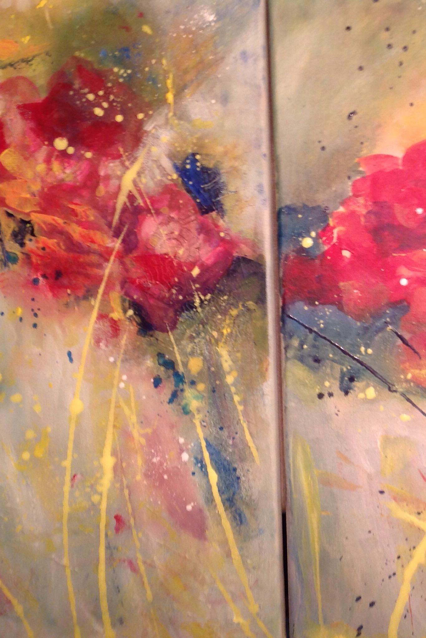 Splash of pink Roses by Artist Aruna Chagarlamudi (Aruna's Art Studio)