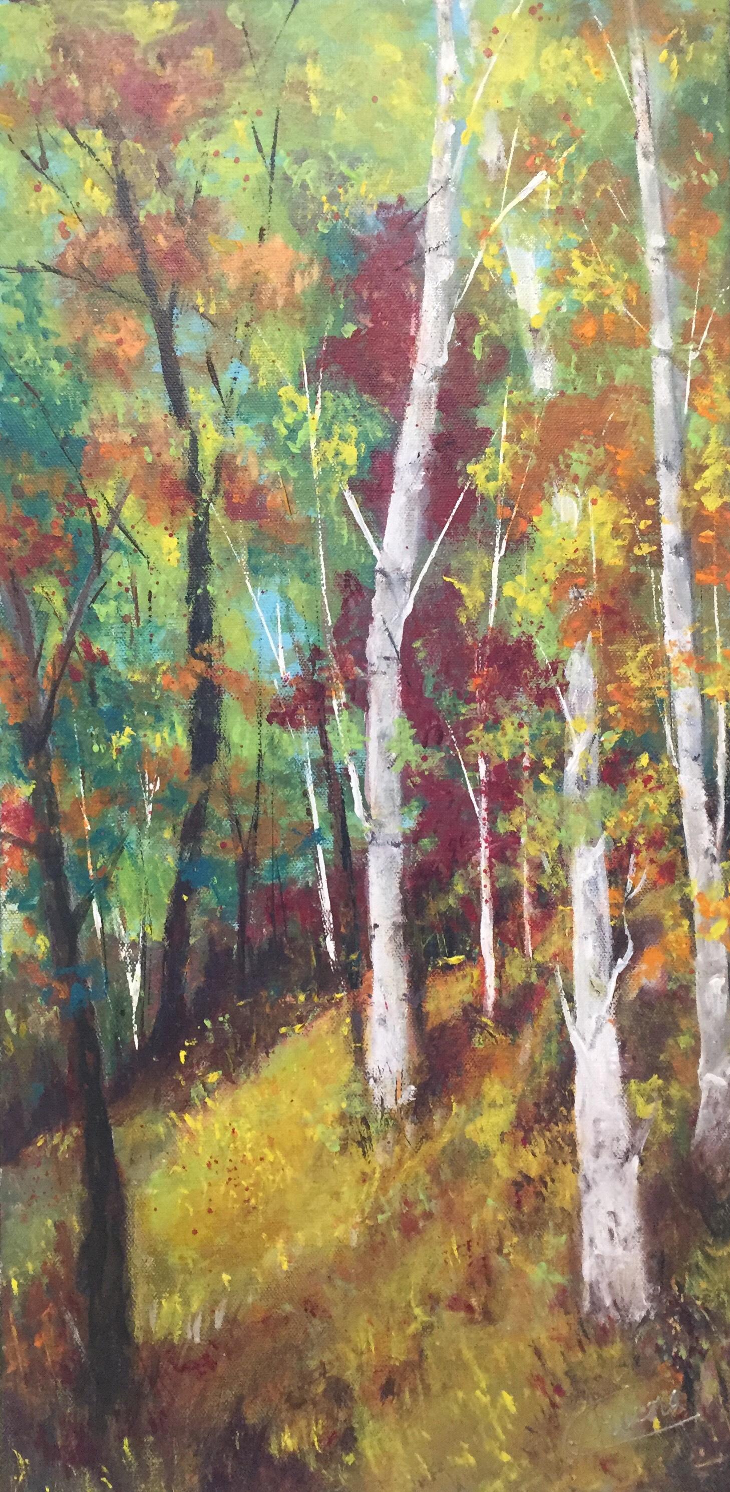 Birch in Fall by Artist Aruna Chagarlamudi (Aruna's Art Studio)