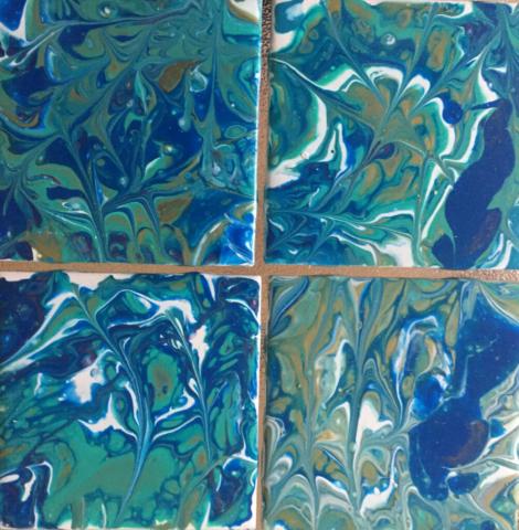 Fluid Art Ceramic Coasters 5 by Artist Aruna Chagarlamudi (Aruna's Art Studio)