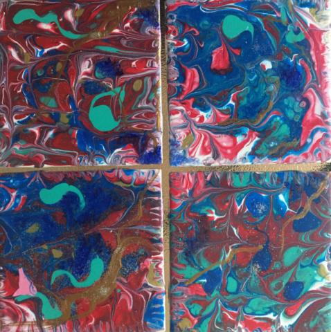 Fluid Art Ceramic Coasters 3 by Artist Aruna Chagarlamudi (Aruna's Art Studio)